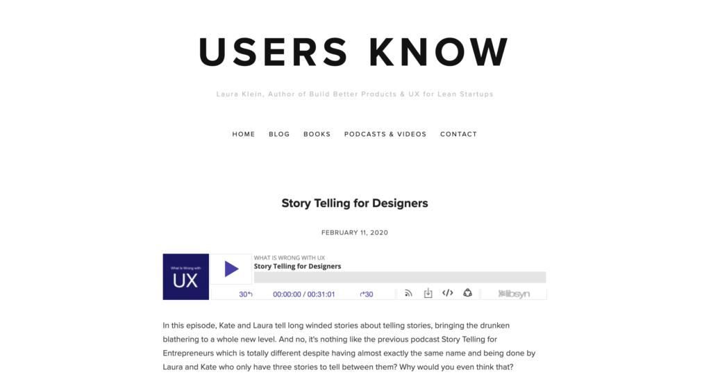 Users Know - site de podcasts sur UX