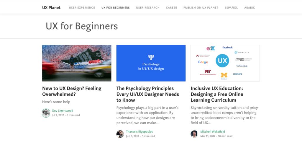 UX for Beginners - image du blog collaboratif pour débutants